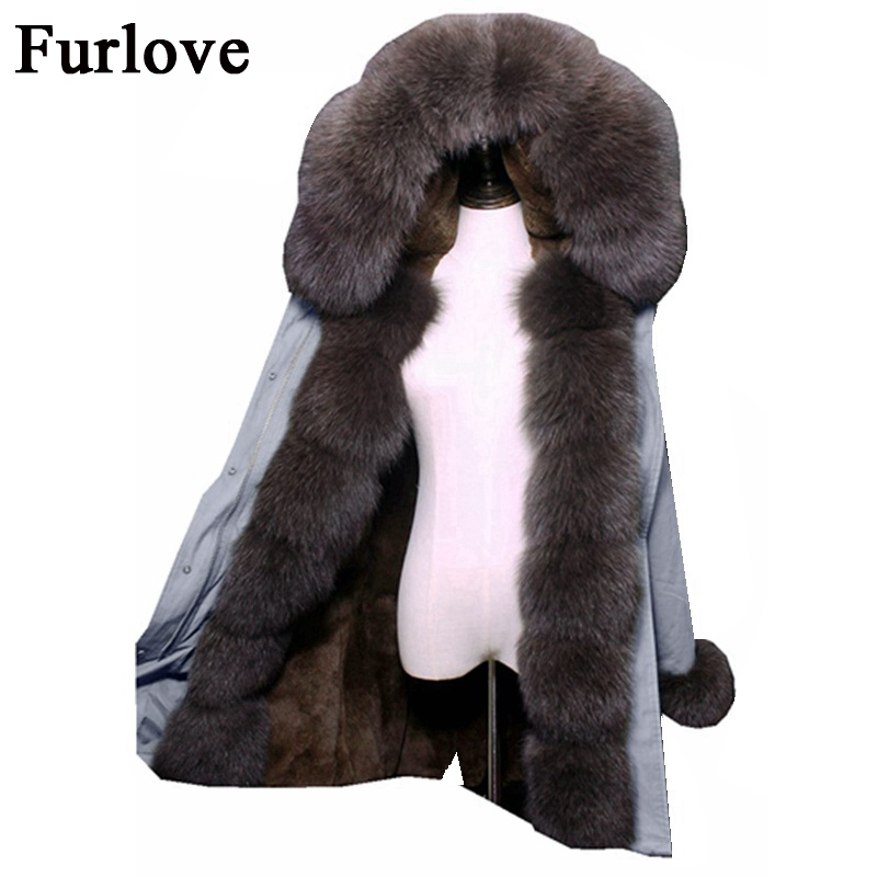 Thick Jackets Long Winter Jacket Women Big Size Real Fox Fur Collar Hooded Parkas Warm Rex Rabbit Fur Liner Parka Casual Coat large size winter parkas women hooded jacket coats korean loose thick big fur collar down long overcoat casual warm lady jackets