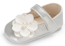 baby girls shoes newborn silver pink floral infant prewalkers little girl crib christenning wedding mary jane