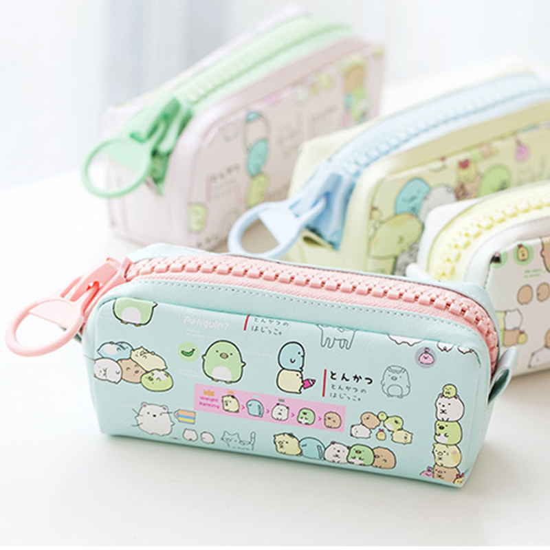 Pencil Case Korean Stationery Creative Simple Large Capacity PU Zipper Pencil Case Cute Student Supplies High Quality Waterproof keeka mic 103 stylish universal 3 5mm jack wired in ear headset w microphone red blueish green
