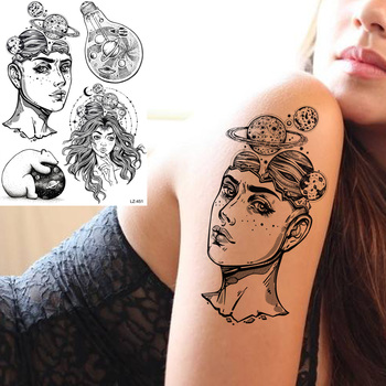 GoldOcean Women Arm Thinker Girls Bulb Black Fake Tattoos Temporary Body Wrist Custom Tattoo Stickers Men Planet Bear Tatoos DIY image