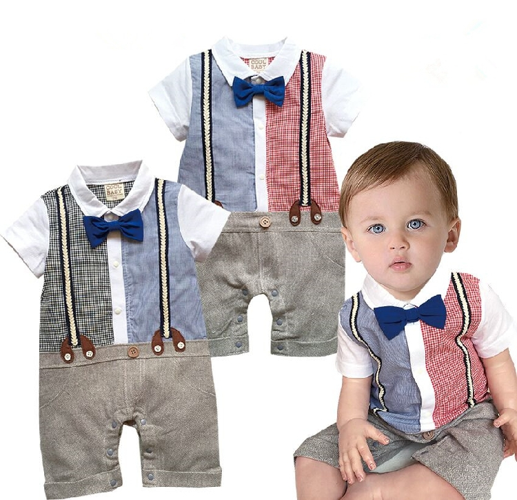 56ad6dc9a756 Free Shipping 4pcs lot Infant Toddler Baby Boy s Formal Wear Tuxedo Rompers-in  Rompers from Mother   Kids