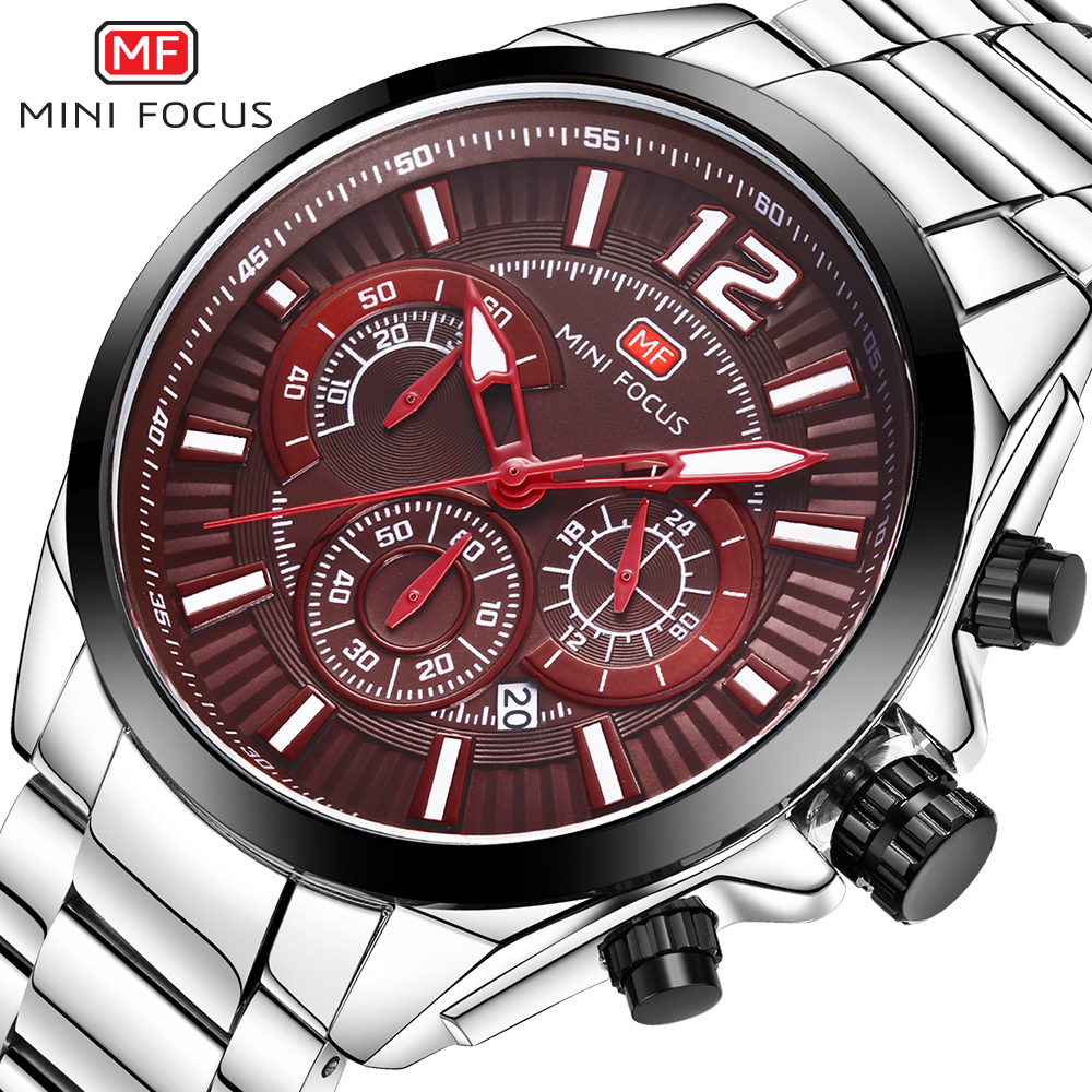 MINIFOCUS Stainless Steel Mens Watches Top Brand Luxury Sport Watch Men Clock Male Chronograph Quartz Wristwatches Hodinky Men women men quartz silver watches onlyou brand luxury ladies dress watch steel wristwatches male female watch date clock 8877