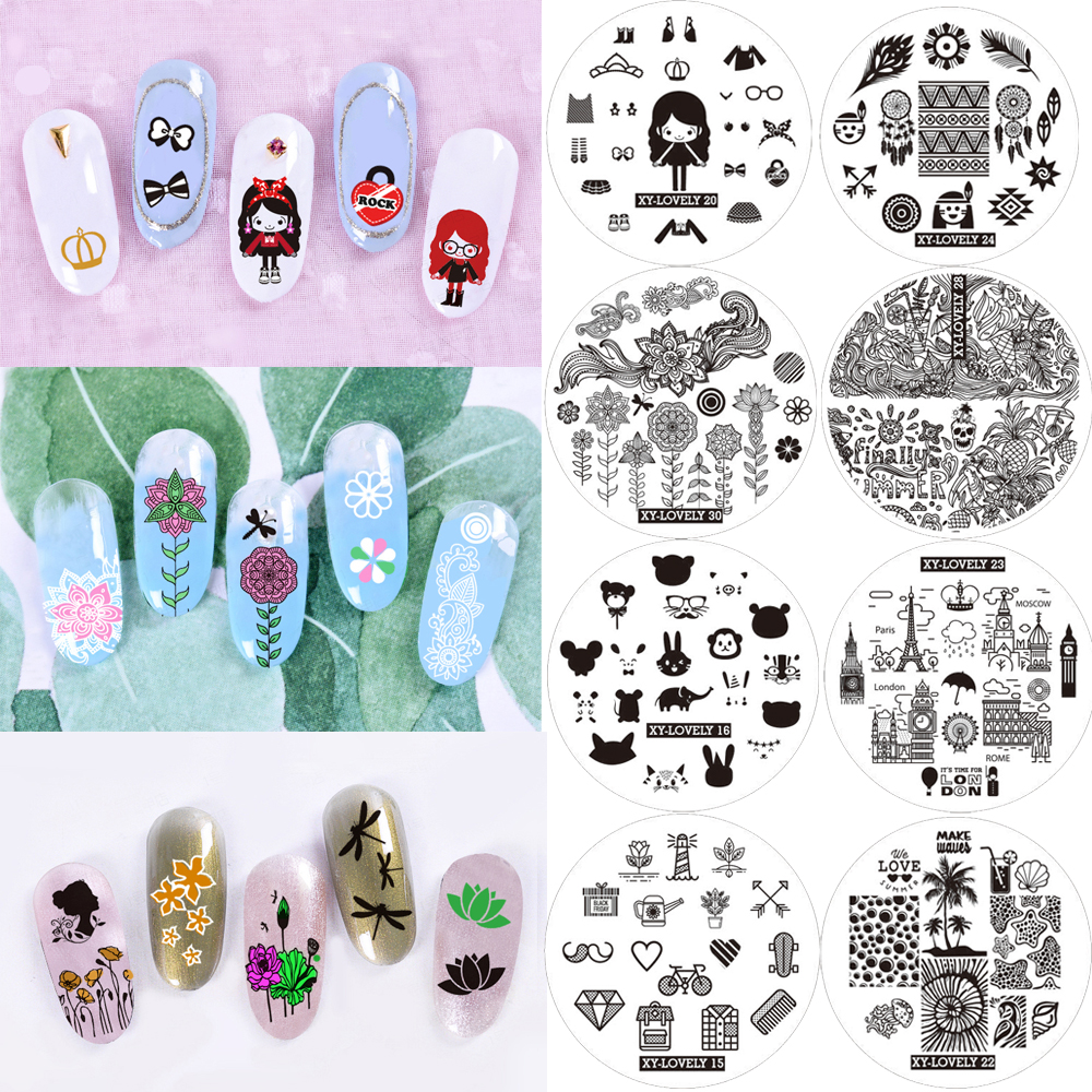 New Nail Art Stamping Plates Templates Stamp Plate Round Nail Manicure DIY Set Tool Flower Butterfly Bird Animal Indian Pattern