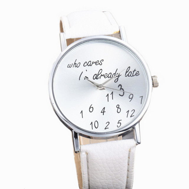 Womens Mens Quartz Watches 1 PC Unisex Stylish Letters Numbers Pattern Analog Wr