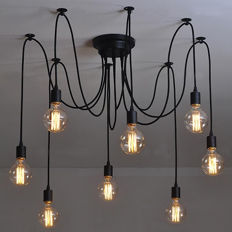 Lámparas de techo americanas clásicas para sala de estar, lámparas de techo negras industriales, lámparas de techo modernas