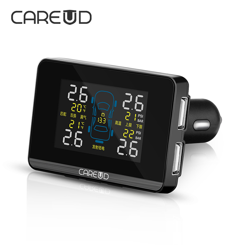 CAREUD TPMS Car Wireless Tire Pressure Monitoring System Monitor Alarm With 4 Internal Sensor Replaceable Battery LCD Display wireless pager system 433 92mhz wireless restaurant table buzzer with monitor and watch receiver 3 display 42 call button