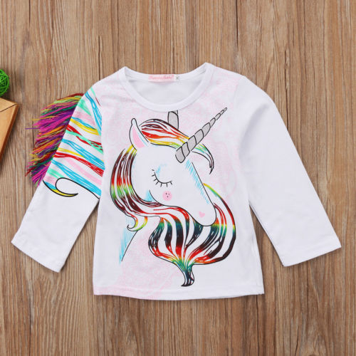 1-6T Unique Toddler Kids Girls Summer Casual O Neck Long Sleeve Unicorn Tops Cotton T-shirt Clothes 5