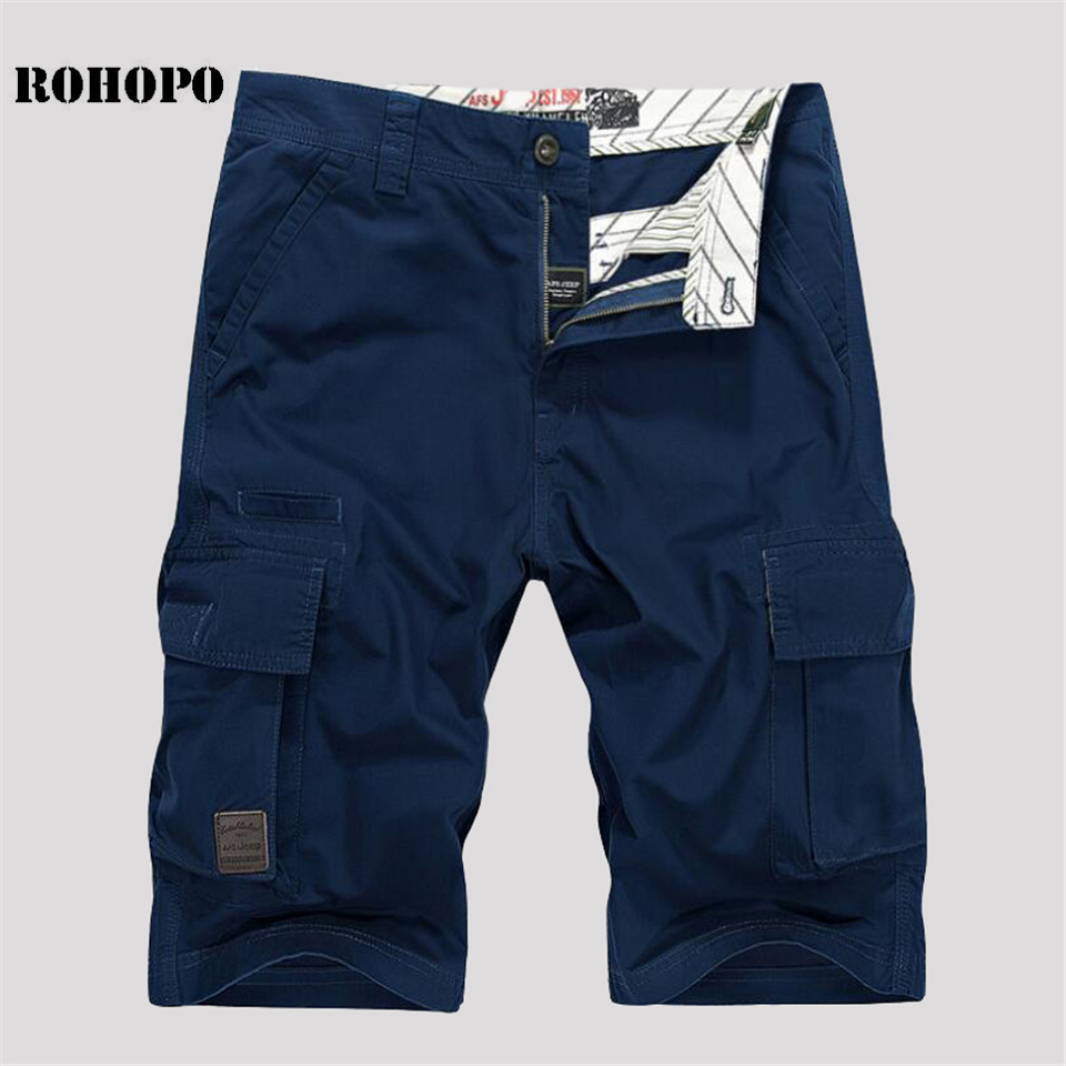 ROHOPO Summer Shorts Military Solid-Pockets Knee-Length Plus-Size 100%Cotton Brand Loose
