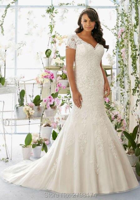 Short Sleeves Plus Size Wedding Dresses Lace Mermaid Wedding Dress ...