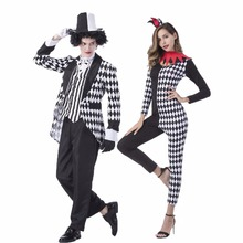 Umorden Carnival Party Halloween Magician Costumes Men Mad Hatter Costume Women Circus Clown Cosplay Fancy Dress