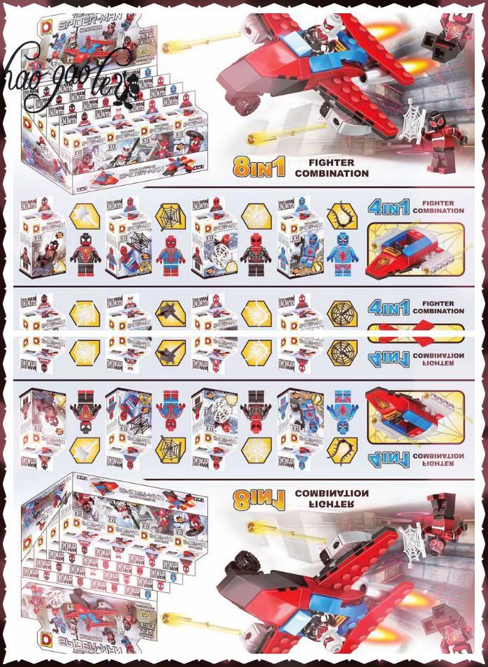 hao gao le Super Heroes Wolverine Spider-Man Spider Man Bricks Building Blocks Education Learning Toys for children Gift пластилин spider man 10 цветов