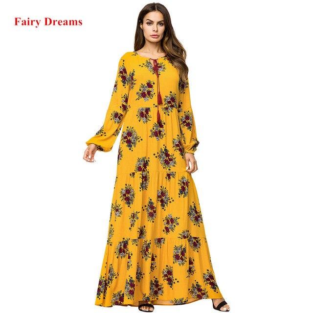 0d8ed98ed09 Abaya Dubai Long Sleeve Muslim Dress Women Flowers Yellow Turkey Malaysia  Turkish Kaftan Islamic Clothes Plus