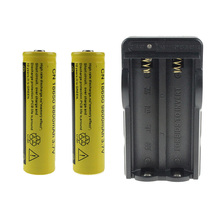 18650 Rechargeable Lithium Battery For 2* 9800mah 18650 Li-ion Battery +1*Double Slot EU US Plug Charger For Headlamp Torch
