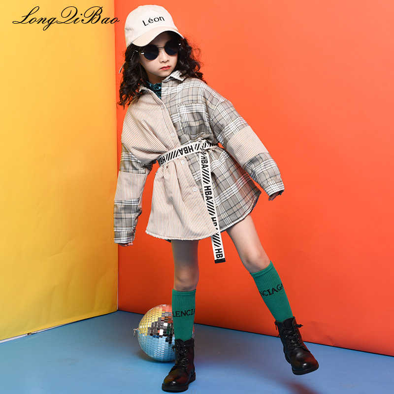 26dae347a77 Baby girl cotton plus velvet shirt 2018 winter new big children s children s  plaid stitching belt long
