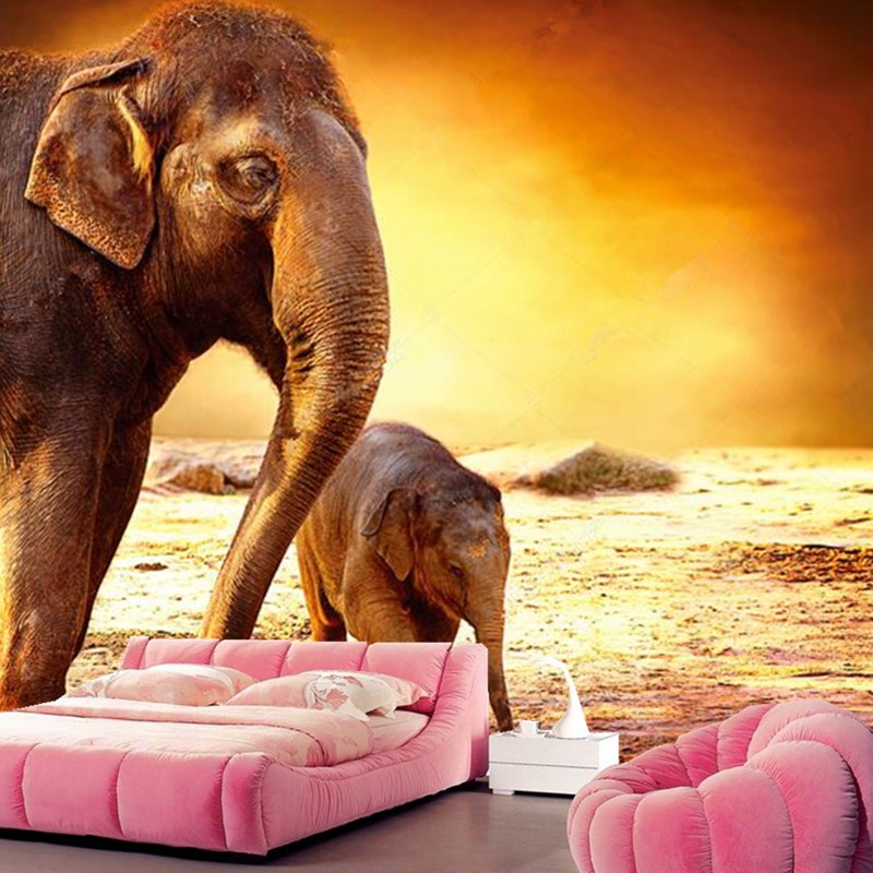 Custom mother elephant and baby elephant under sunset wallpaper papel de parede,hotel living room sofa TV wall bedroom mural 3d custom papel de parede infantil see graffiti mural for sitting room sofa bedroom tv wall waterproof vinyl which wallpaper