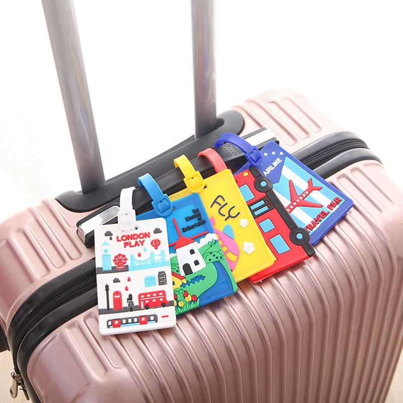 Kawaii Stitch Doraemon etiqueta para equipaje, Valijas dibujos animados titular de la Dirección de identificación etiqueta de equipaje sílice Ge identificador de viaje Accesorios