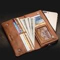 Qialino funda para iphone 7 & iphone 7 plus genuino hecho a mano funda cartera de cuero para iphone 6 s ranuras para tarjetas 4.7/5.5 pulgadas