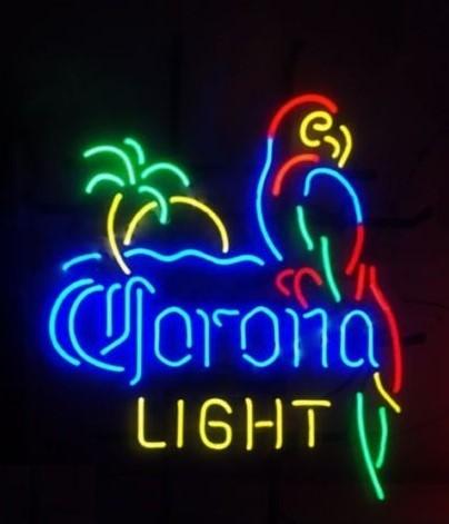 Custom Corona Light Parrot With Palm Tree Neon Light Sign Beer Bar