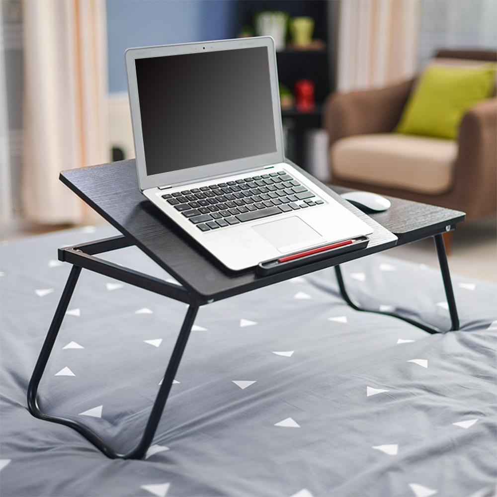 Folding Notebook Table Adjustable Laptop Computer Desk Six Adjustable Levels Desktop Mouse Board Design And Mobile Phone Slot(China)