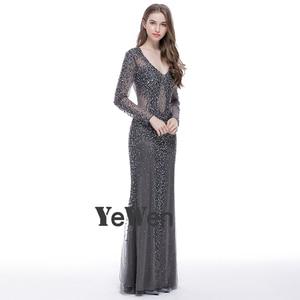 Image 2 - YEWEN argent gris formel robe de soirée 2020 Sexy col en v Noble femmes robes longues seleeves étage longueur fête robes de bal