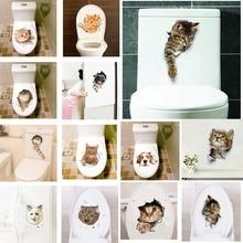 3D vivid hole Cat Wall Sticker Decals Bathroom Toilet cupboard Bedroom Door Refrigerator Decoration Art Mural Poster