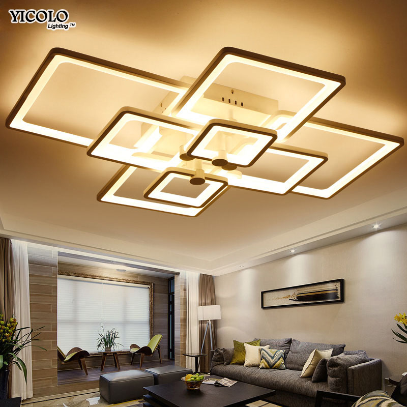 Modern Iron ceiling lights AC 90-260V Dining room bedroom kitchen Simple surface mounted painted lamp Dimmable lighting fixtures
