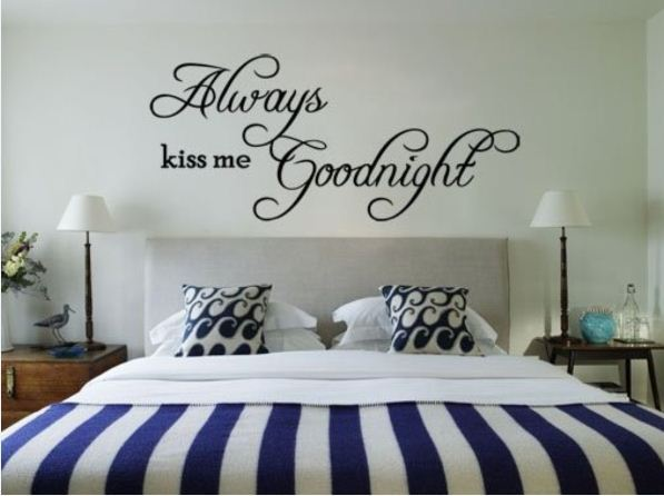 Always Kiss Me Goodnight Removable Vinyl Wall Sticker DIY 3D Wall Decal Quotes Decorative Mural Family Decor Home Gift