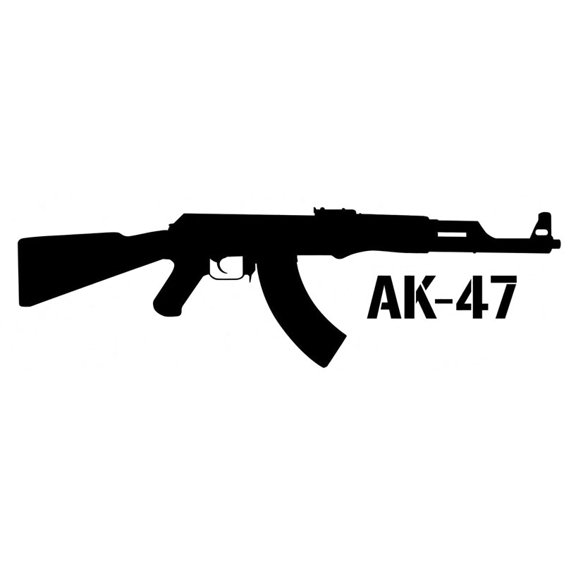 15X4.4CM KALASHNIKOV AK-47 Cartoon Gun Car-styling Vinyl Decal Car Sticker S8-0072