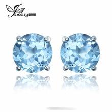 2016 Nueva 2ct Aretes de piedra Natural Topacio Azul Cielo para Las Mujeres Genuino 925 Plata Esterlina Redondo Clásico Moda Fina joyería