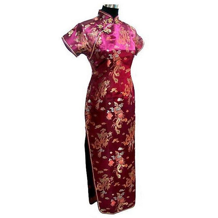 Crna Ženska Satin Long Cheongsam Qipao Tradicionalna kineska haljina - Nacionalna odjeća - Foto 3