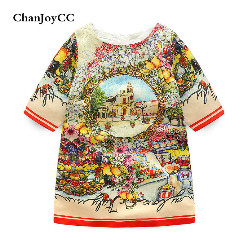 Hot sale Fashion  New style Printing Children Girls High-quality  dress  Princess dress Cotton new next fall girls graffiti sets european and american style printing zipper cardigan cartoon princess hot sale children s sets