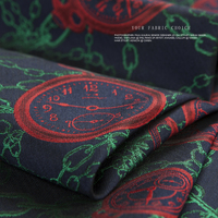 Couture Fashion Fabric Red Clock Green Chain Navy Color Japan Fabric Vintage Sew For Jacket Dress
