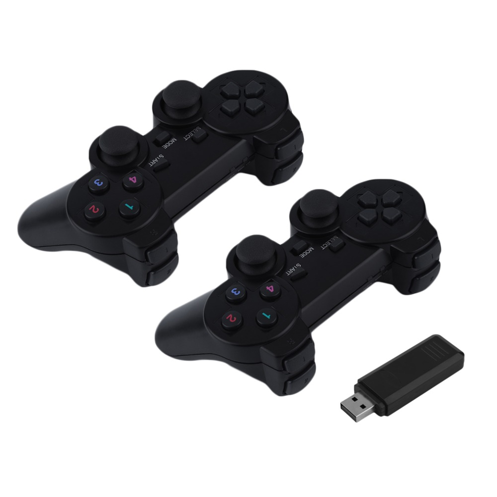 2 pcs H 1032 Portable 2 4G USB Wireless Dual Vibration Gamepad Controller Joystick For PC