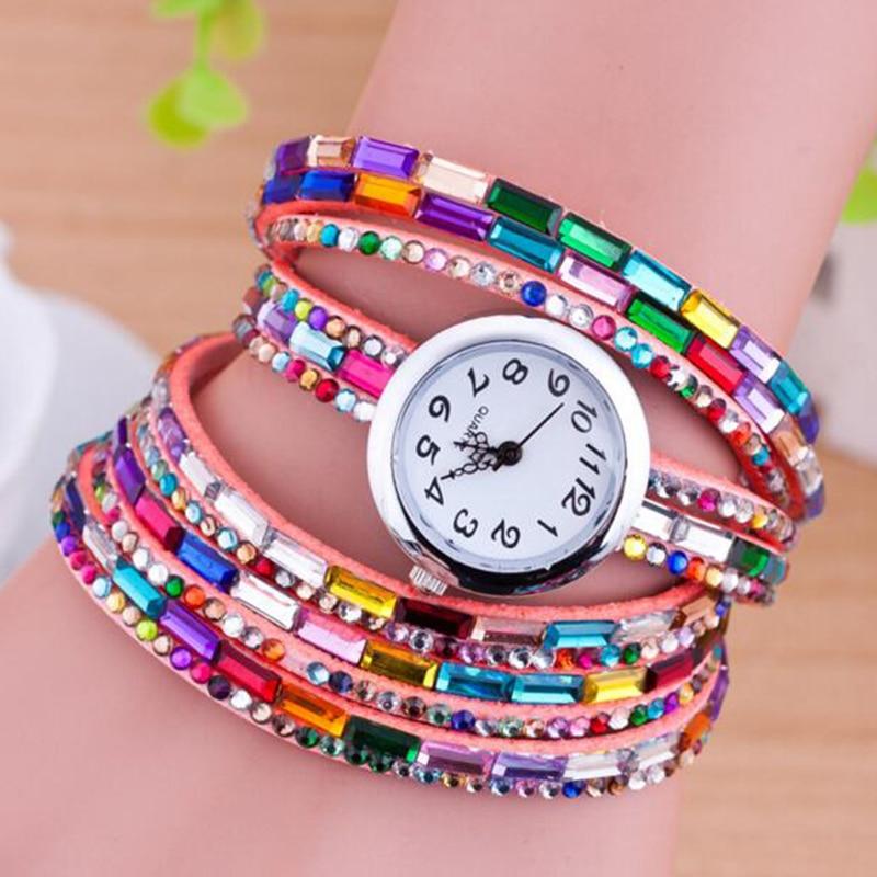 d7b0e538d4e Top mulheres de luxo assistir moda quartzo colorido strass relógio ...