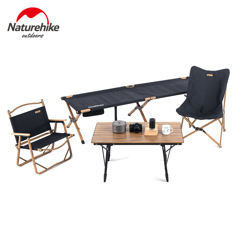Naturehike 2019 Outdoor Camping Table Chairs Camping Cot Wood Grain Camping Furniture Folding Bed Fishing Chair Telescopic Table|Outdoor Tools| |  - title=