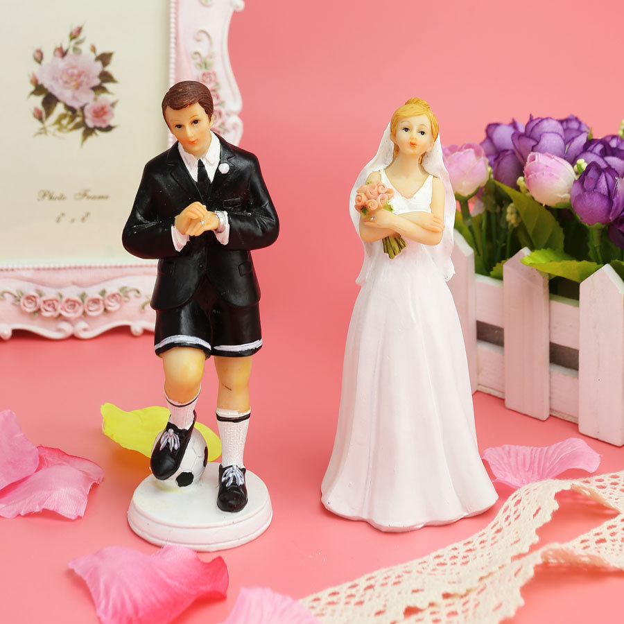 Soccer Groom & Exasperated Bride funny wedding cake topper cake ...