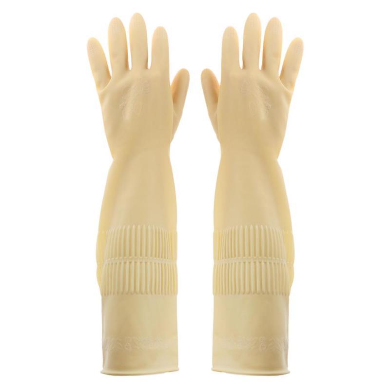 1 пара перчатки из натурального латекса кухонные перчатки для защиты посуды для уборки по дому водонепроницаемые повседневные перчатки с длинным рукавом качественные инструменты - Цвет: LONG