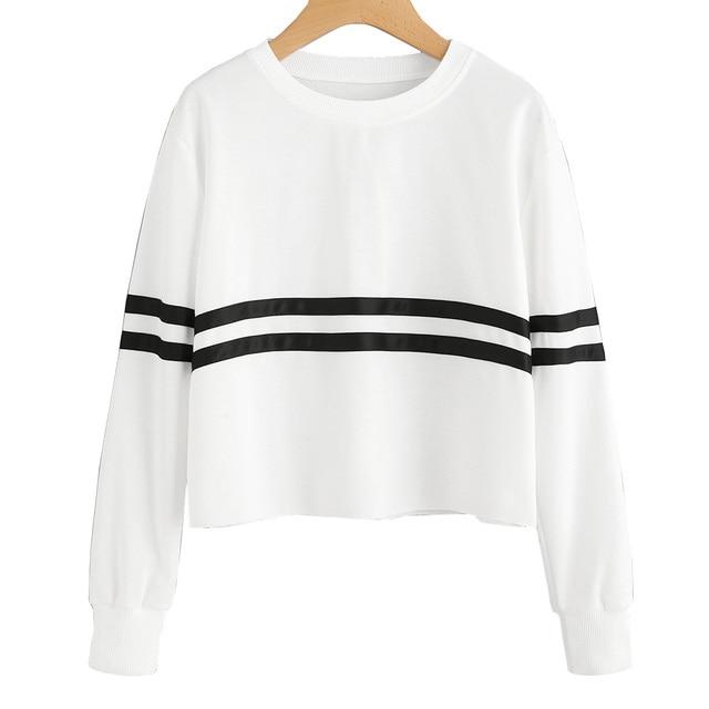 ca29ad41f307fe Women Ladies T shirt Long Sleeve Crop Top Autumn Clothes Women Drop Shoulder  Varsity Striped Sleeve T-shirt