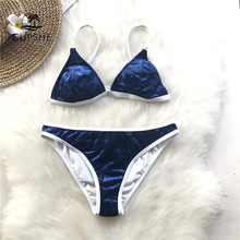 6d76f518490 CUPSHE Sapphire Blue Triangle Bikini Set Women Velvet Back Hook Sexy Thong  Bikini Swimwear 2018 New Beach Two Piece Swimsuits
