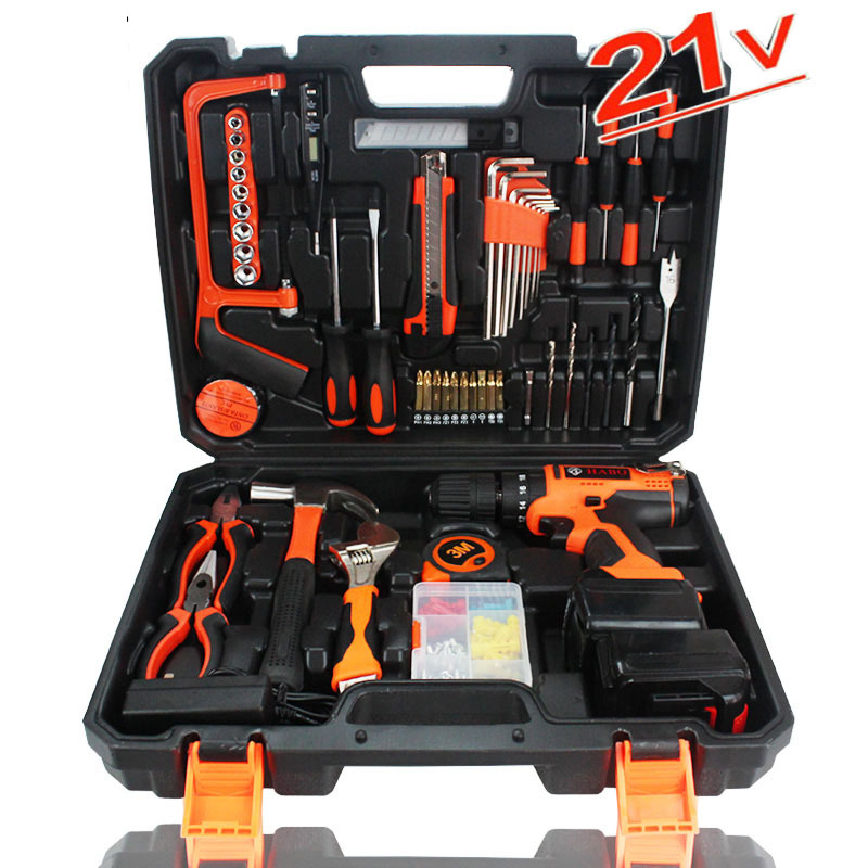 цена на 21V Electric Power tool Drill Cordless Hammer cordless screwdriver 102 pcs hand Tools Set Precision Screwdriver Hardware Tool