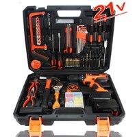 21V Electric Power tool Drill Cordless Hammer cordless screwdriver 102 pcs hand Tools Set Precision Screwdriver Hardware Tool