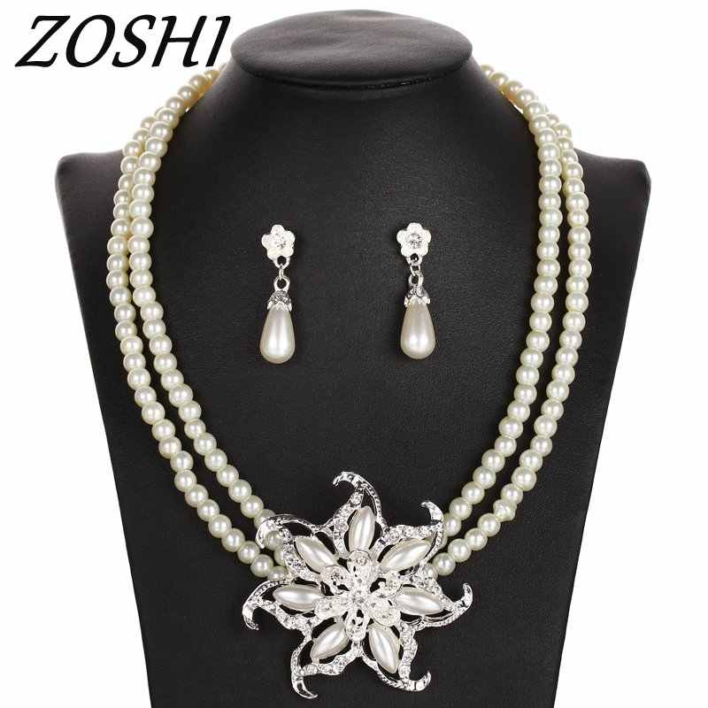 Chocker Necklace Earrings Simulated Pearl Flower Jewelry Set For Women Wedding Bridal Party Accessories Imitated Crystal Pendant