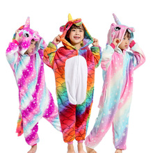Boys Girls Pajamas Unicorn Children Pajamas set Unisex Flannel Kids pink stars pajama Unicorn Animal Sleepwear Cosplay Onesies недорого