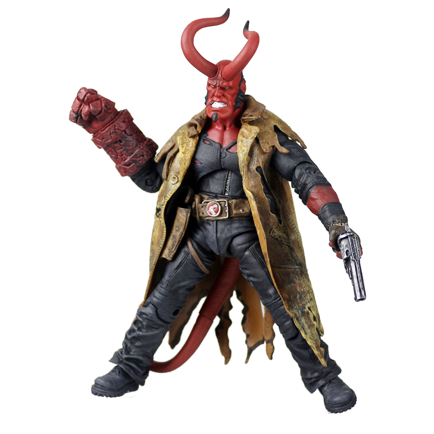 Mezco Hellboy Doll with Weapons PVC Action Figure Collectible Model Toy 8 20cm KT3643 world of warcraft wow pvc action figure display toy doll dwarven king magni bronzebeard