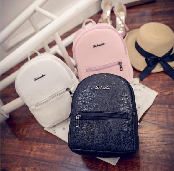 2018 New Cute College Wind Mini Shoulder Bag High Quality PU Leather Fashion Girl Candy Color Small Backpack Female Bag