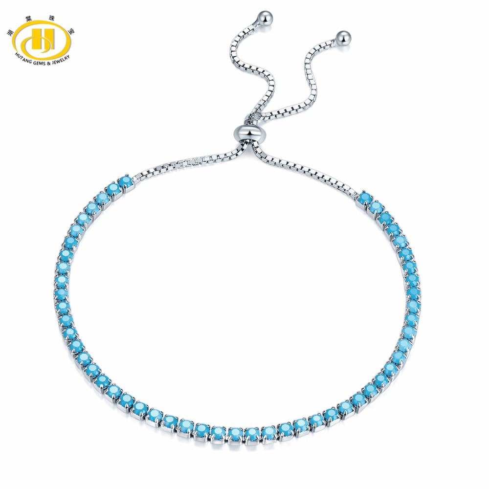 Solid 925 Sterling Silver Bracelet Nano Turquoise for Women's Fine Jewelry Adjustable Length for Birthday Christmas Gift(China)