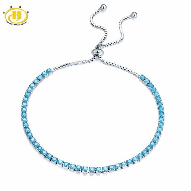 Hutang Bracelets Solid 925 Sterling Silver Nano Turquoise For Women's Girl's Fine Jewelry Adjustable Bracelet Christmas Gift New