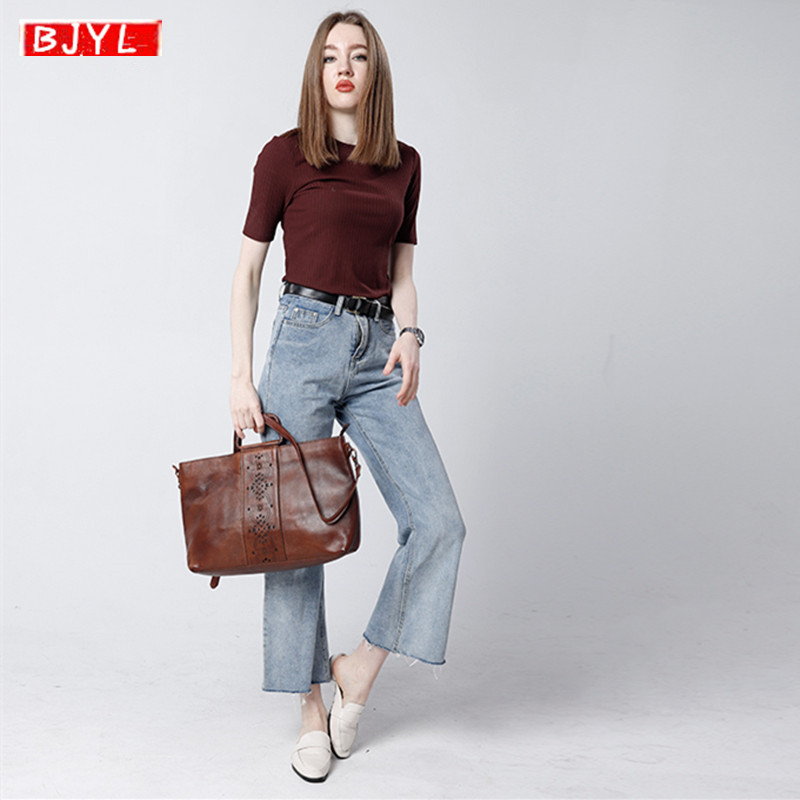New Cowhide Leather Women's Briefcases Business Genuine Leather Handbag Female Shoulder Messenger Bag Retro Laptop Briefcase
