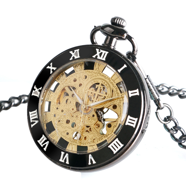 Mechanical Pocket Clock Best Gift Simple Women Steampunk Vintage Skeleton Hand-winding Roman Numerals FOB Chain Antique Style