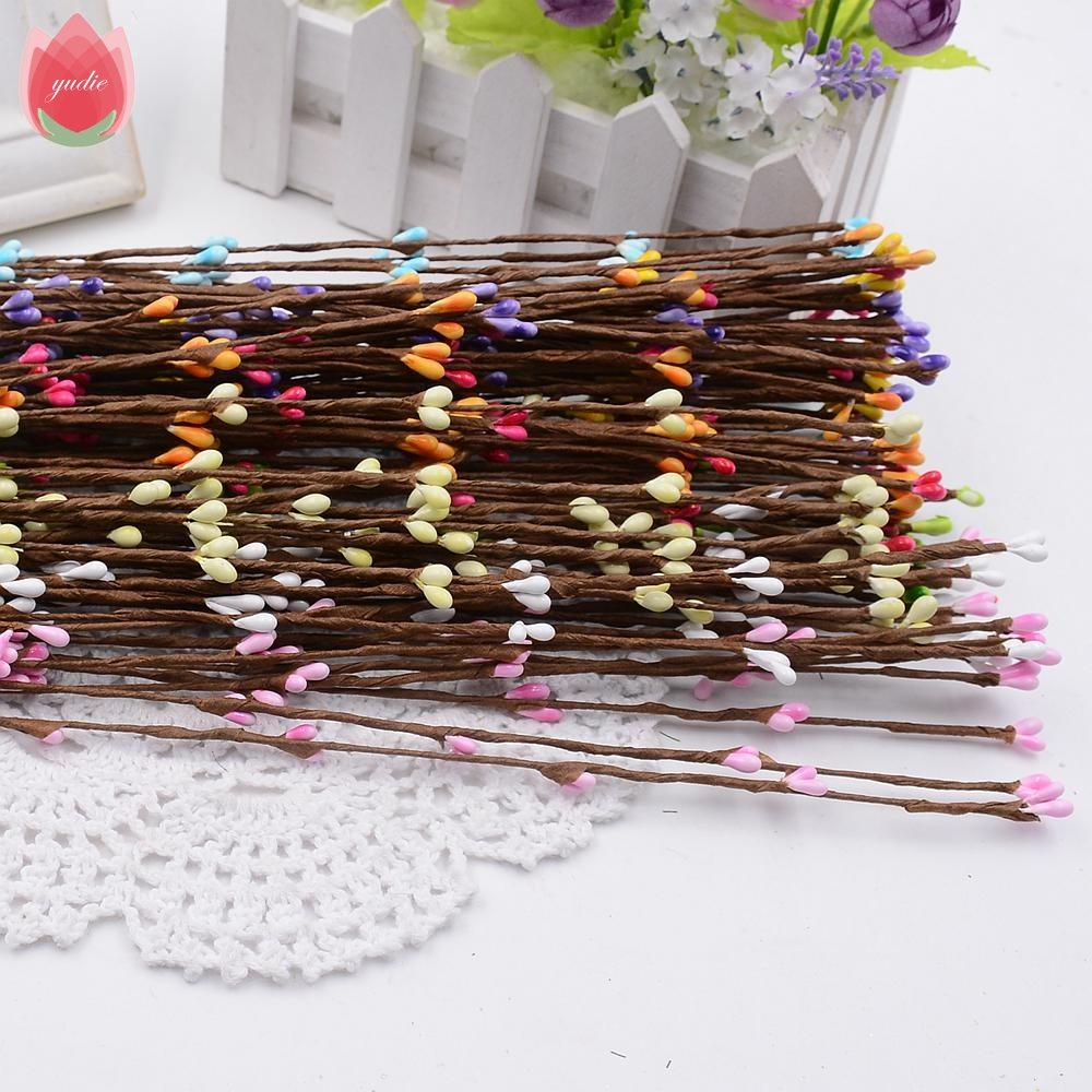 How to scrapbook dried flowers - Cheap 10pcs 40cm Bud Artificial Branches Flower Iron Wire Twigs For Wedding Decoration Diy Scrapbooking Handmade Wreath Flower